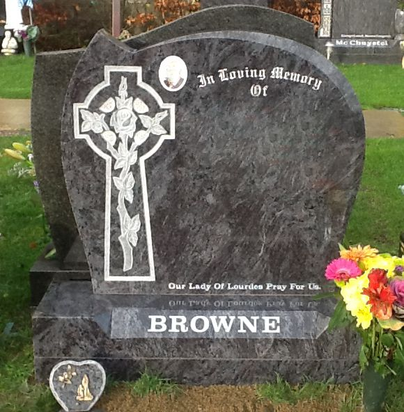 Cross With Carved Rose Bahama Blue Devlin Memorials