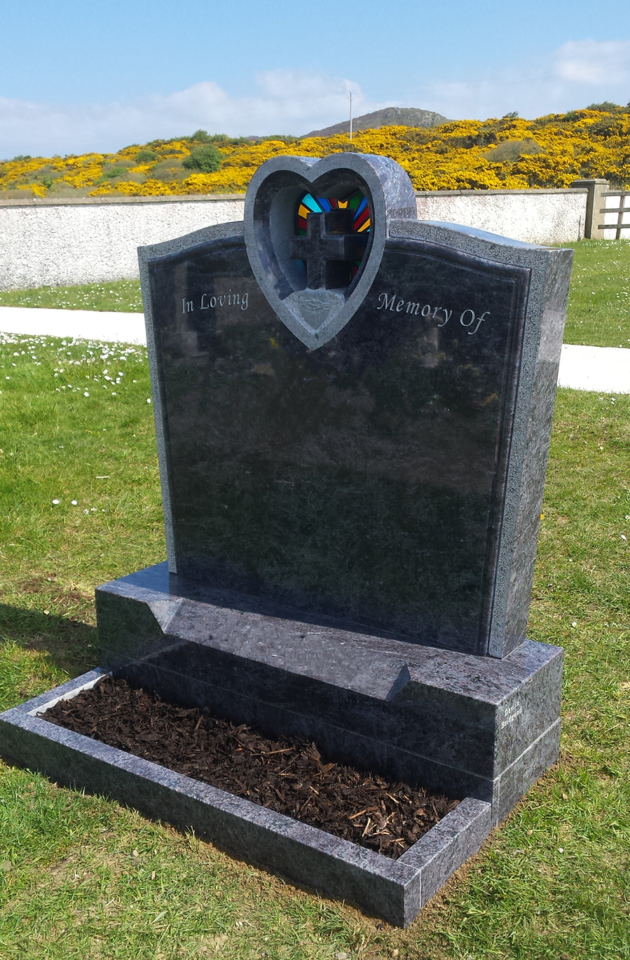Granite Heart And Cross With Stained Glass Window Devlin