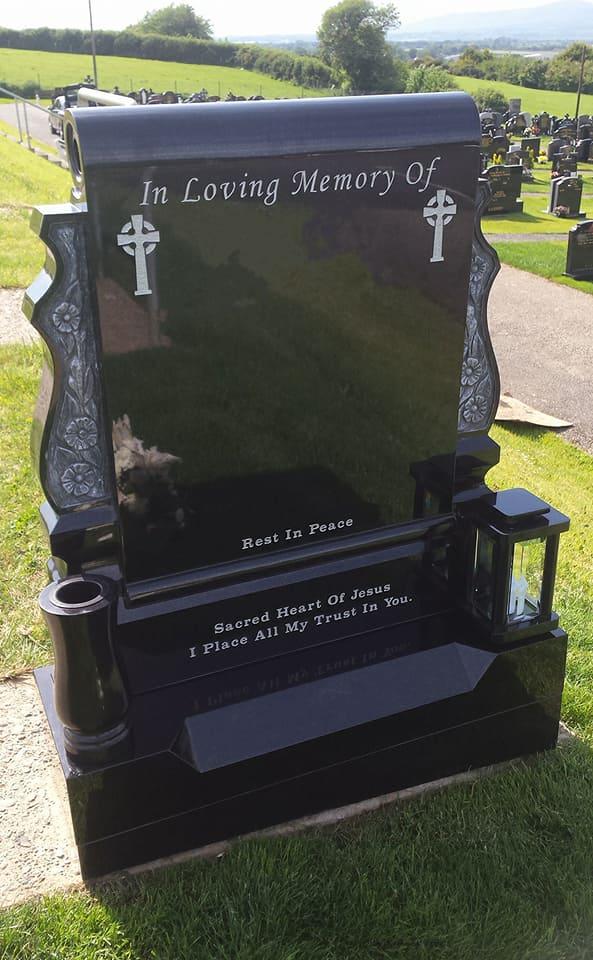 Black Granite Scroll Devlin Memorials Headstones