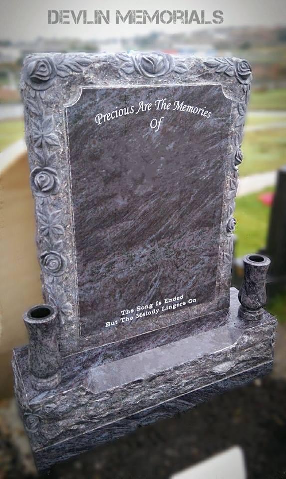 Custom Design Rock Pitched Roses Devlin Memorials