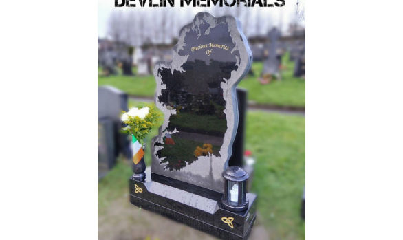 Custom made Ireland memorial from black granite